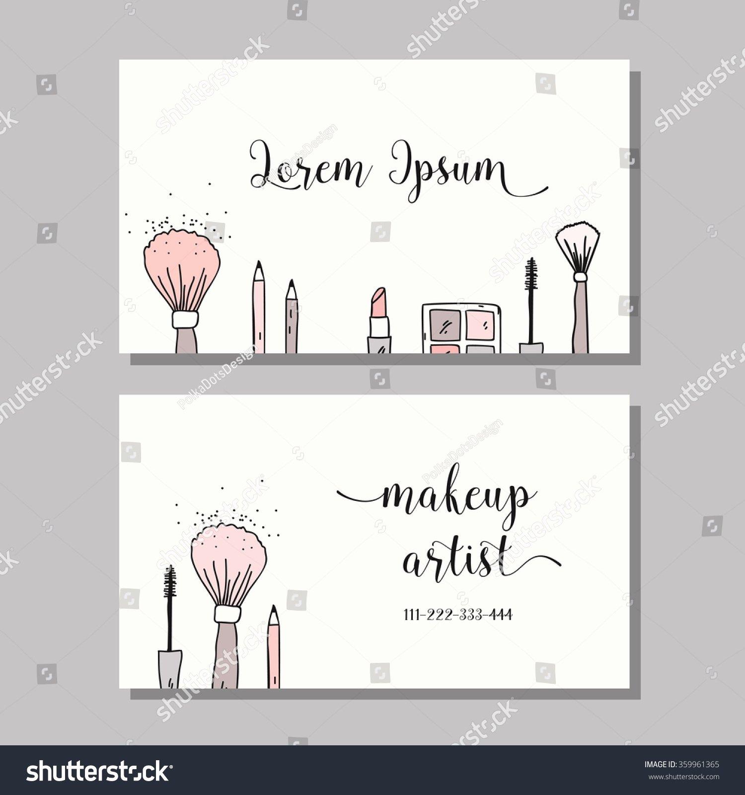 Makeup Artist Website Template New Makeup Artist Business Card Vector Template Stock Vector
