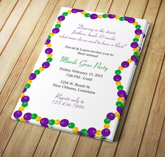 Mardi Gras Invitation Template Awesome Mardi Gras Beads Invitation Design Editable Template