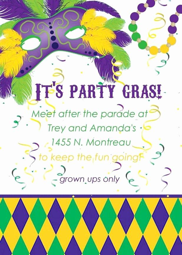 Mardi Gras Invitation Template Awesome Mardi Gras Invitation Template