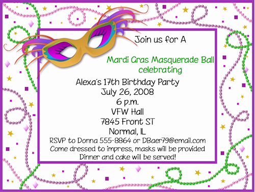 Mardi Gras Invitation Template Fresh Mardi Gras Birthday Invitations Ideas – Bagvania Free