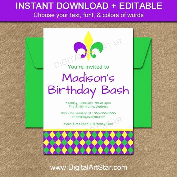 Mardi Gras Invitation Template Inspirational Editable Mardi Gras Invitation Template Mardi Gras Birthday