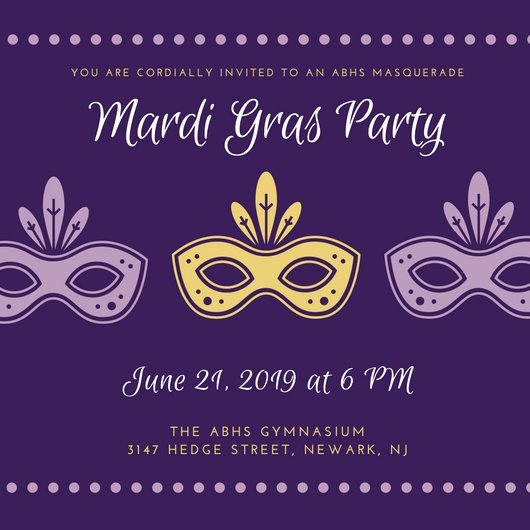 Mardi Gras Invitation Template Inspirational Masquerade Invitation Templates Canva