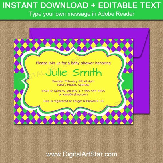 Mardi Gras Invitation Template Lovely Mardi Gras Baby Shower Invitation Editable Mardi Gras