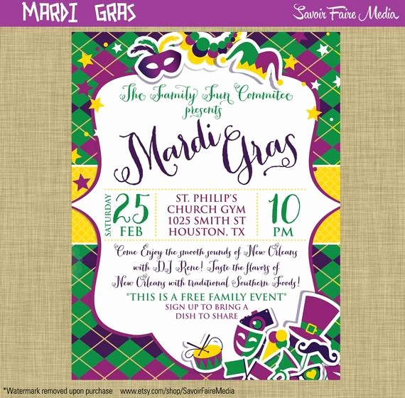 Mardi Gras Invitation Template Luxury Items Similar to Mardi Gras Flyer Invitation Postcard