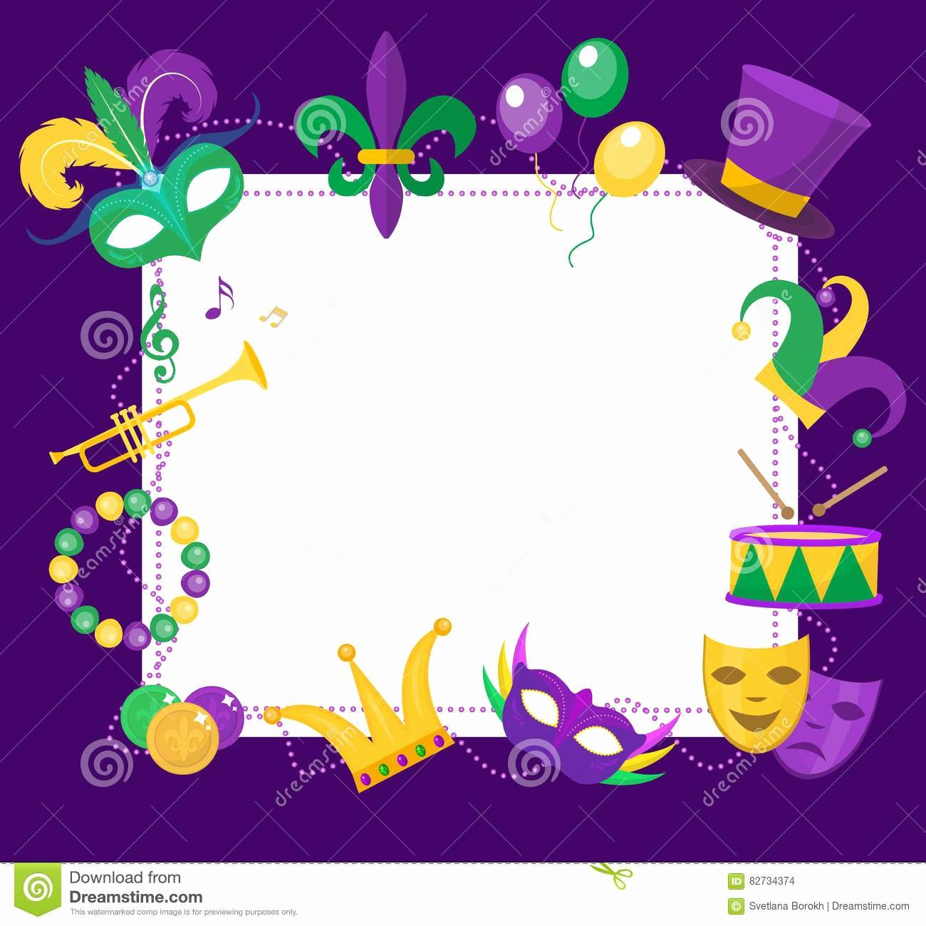 Mardi Gras Invitation Template Luxury Mardi Gras Border Transparent