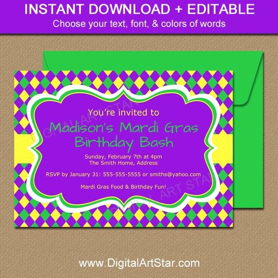 Mardi Gras Invitation Template New Mardi Gras Birthday Invitation Template Editable Mardi Gras