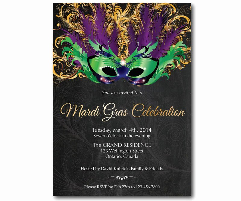 Mardi Gras Invitation Template New Mardi Gras Invitation Mask Chalkboard Mardi Gras Party