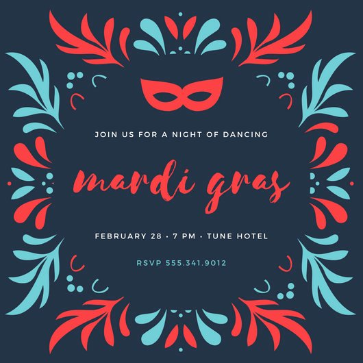 Mardi Gras Invitation Template New Party Invitation Templates Canva