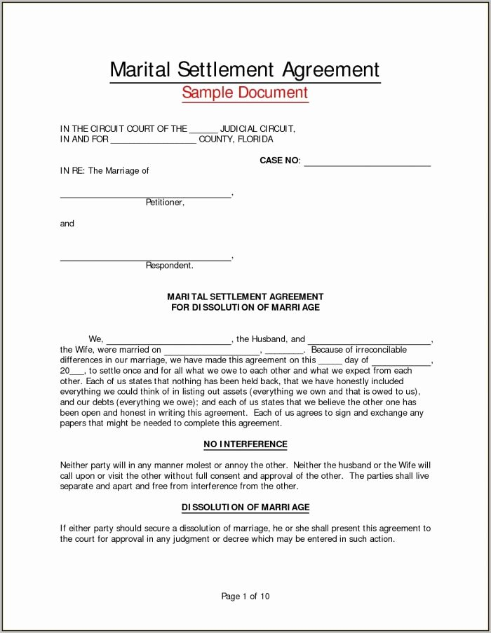 Marital Settlement Agreement Template Inspirational Marital Settlement Agreement Template Pennsylvania
