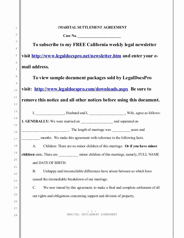 Marital Settlement Agreement Template Inspirational Sample California Marital Settlement Agreement