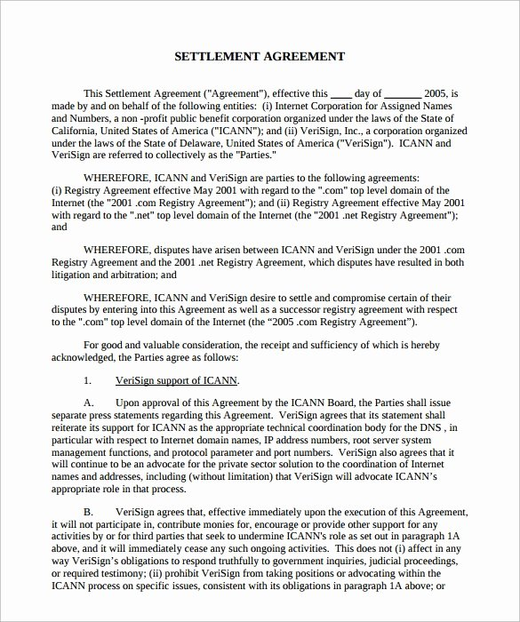 Marital Settlement Agreement Template Luxury Settlement Agreement Template 10 Download Documents In