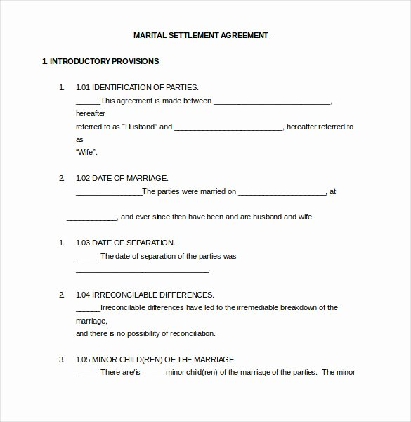Marital Settlement Agreement Template New 12 Divorce Agreement Templates Pdf Doc