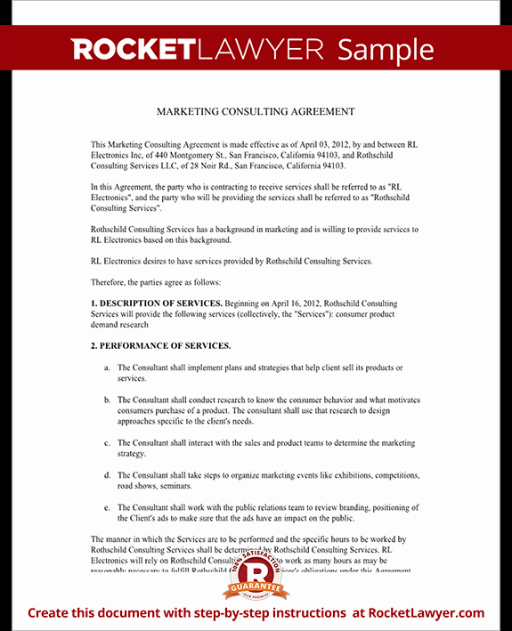 Marketing Agency Agreement Template Fresh Marketing Consulting Agreement Free Template with Sample