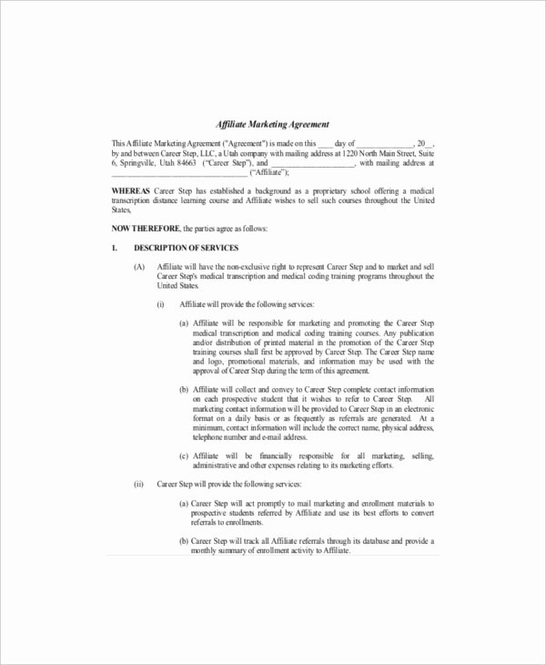 Marketing Agency Agreement Template Lovely 20 Marketing Agreement Template – Free Sample Example