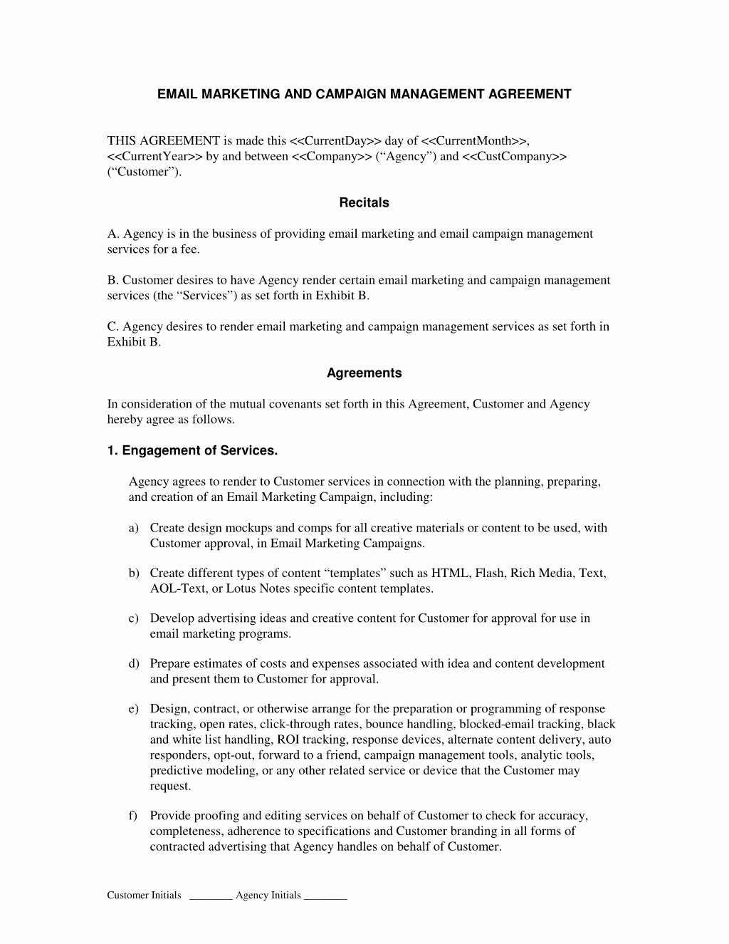 Marketing Agency Agreement Template New Pinterest