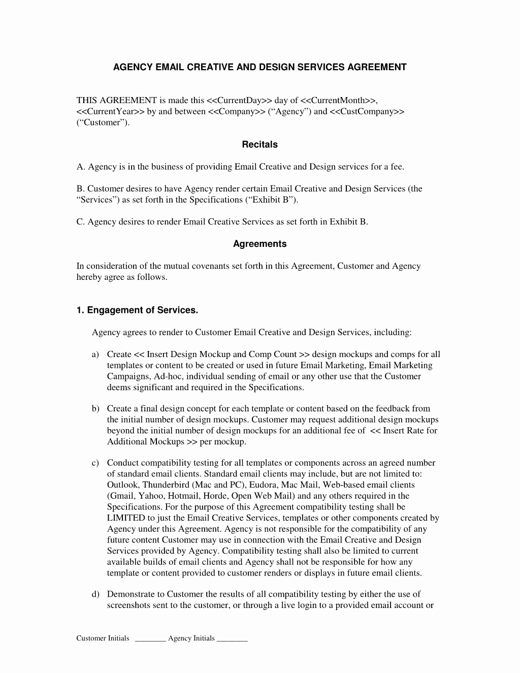 Marketing Agency Agreement Template Unique Ad Agency Contract Free Printable Documents