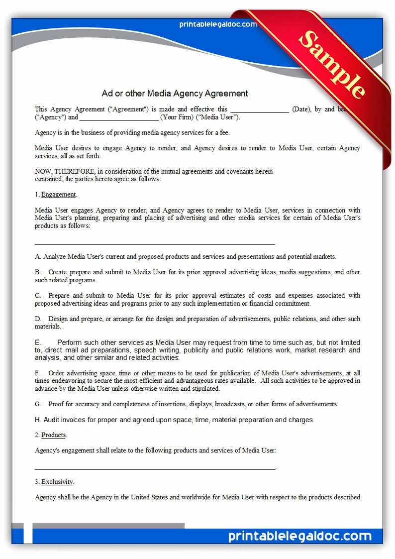 Marketing Agency Agreement Template Unique Free Printable Ad Media Agency Agreement form Generic