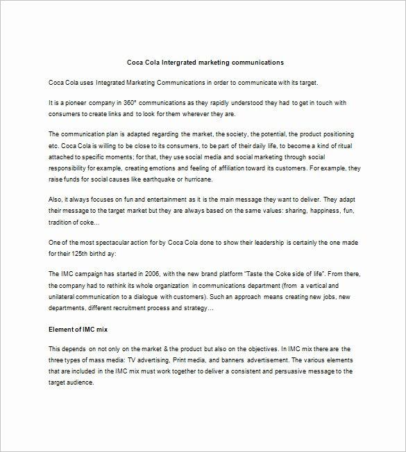 Marketing Communications Plan Template New 9 Integrated Marketing Munication Plan Templates Doc