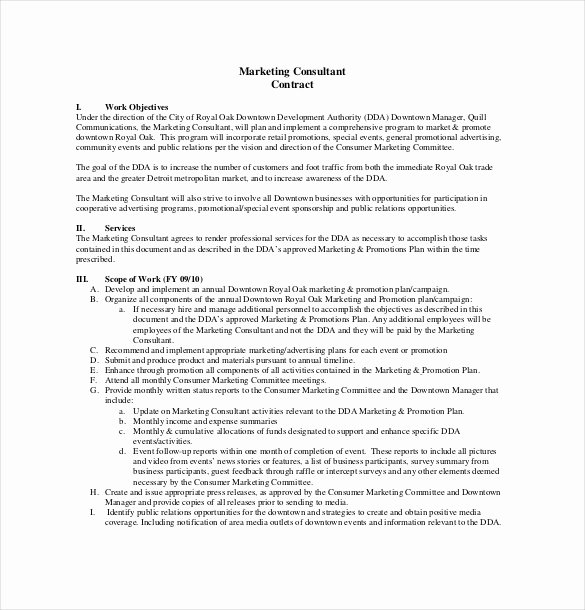 Marketing Consultant Contract Template Inspirational Consultant Agreement Template – 15 Free Word Pdf