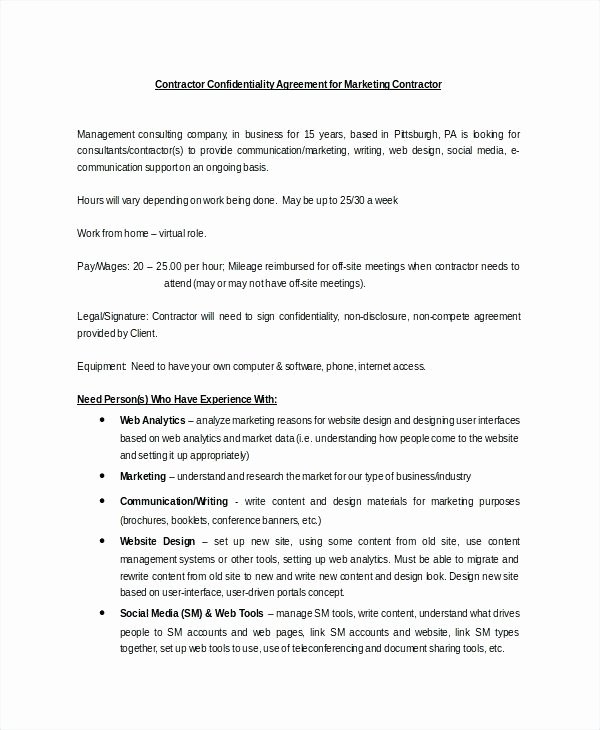 Marketing Consultant Contract Template Lovely social Media Agreement Template Sample Marketing