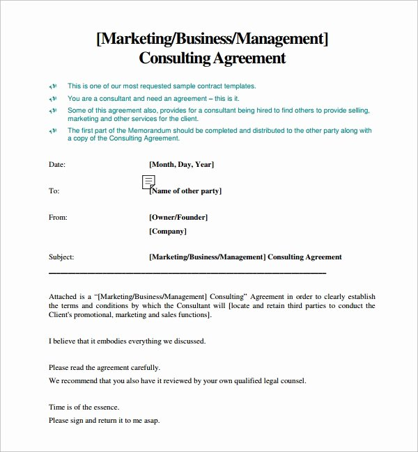 Marketing Consultant Contract Template New Consulting Agreement 15 Pdf Doc Download