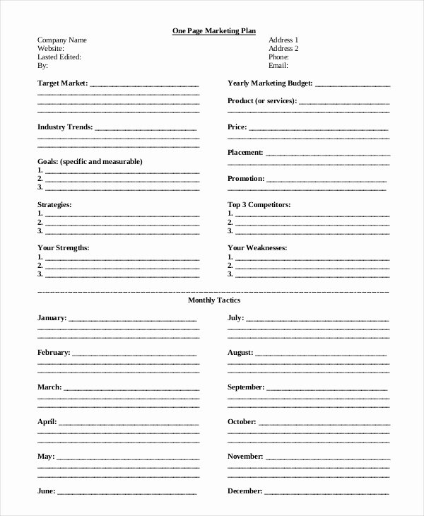 Marketing One Sheet Template Awesome Marketing Strategy Template 13 Free Pdf Word format