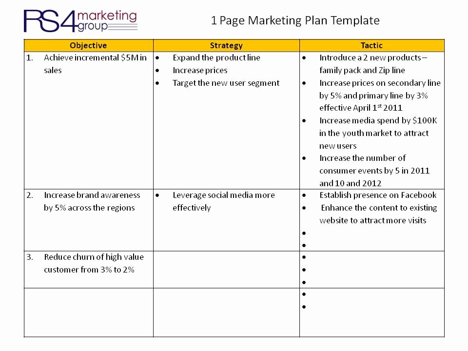 Marketing One Sheet Template Beautiful E Page Marketing Plan Frompo