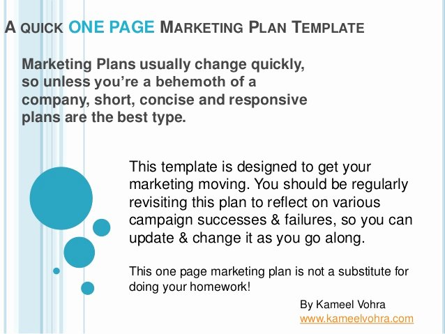 Marketing One Sheet Template Fresh A Quick One Page Marketing Plan Template