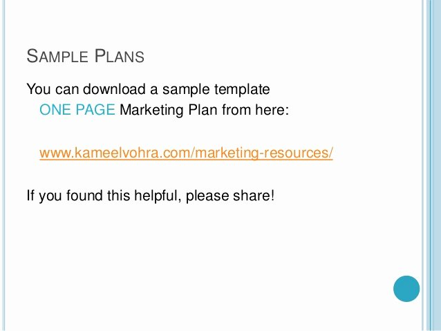 Marketing One Sheet Template New A Quick One Page Marketing Plan Template