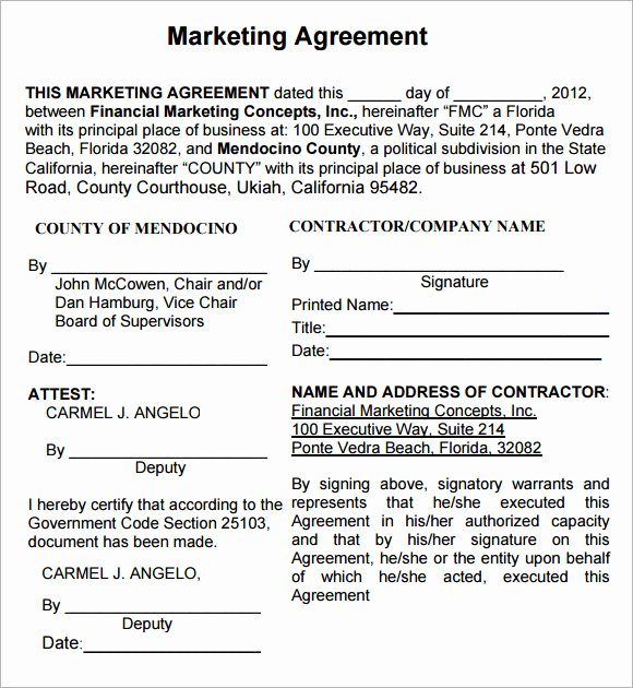 Marketing Service Agreement Template Fresh 19 Sample Marketing Agreement Templates to Download