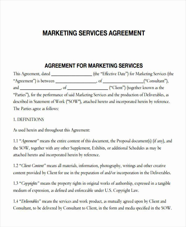 Marketing Service Agreement Template Inspirational 7 Marketing Agreements – Free Sample Example format