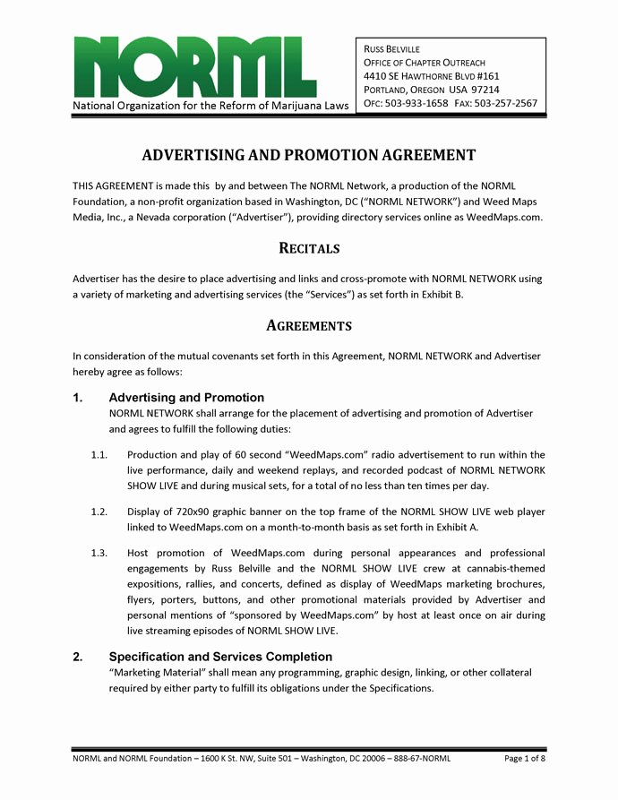Marketing Service Agreement Template New Advertising and Promotion Agreement norml Network and