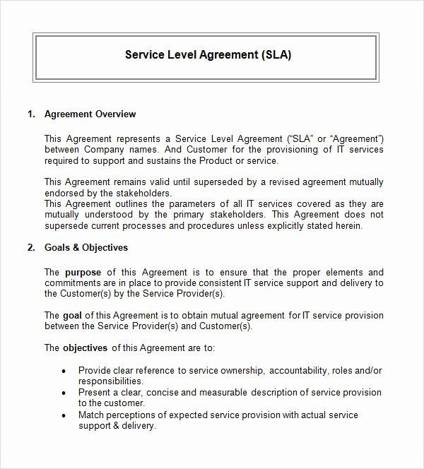 Marketing Services Agreement Template Elegant 14 Sample Service Level Agreement Templates – Pdf Word