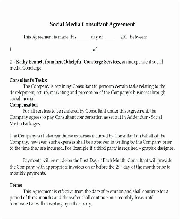 Marketing Services Agreement Template Elegant social Media Agreement Template Sample Marketing