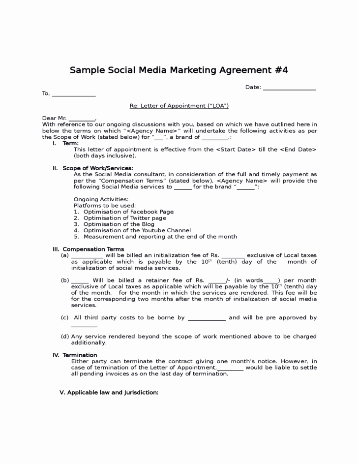 Marketing Services Agreement Template Inspirational social Media Consultant Contract Template Cover Letter
