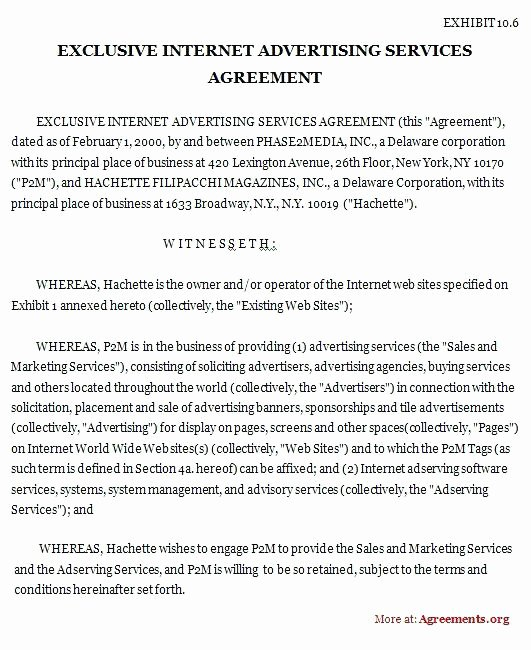 Marketing Services Agreement Template Luxury Sales and Marketing Agreement Template Subcontractor