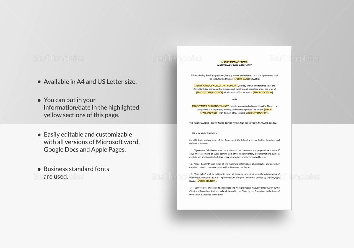 Marketing Services Agreement Template New Marketing Services Agreement Template In Word Google Docs