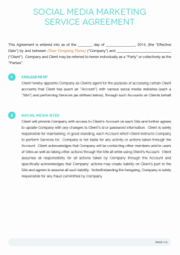 Marketing Services Agreement Template New social Media Contract Templates Word Excel Samples