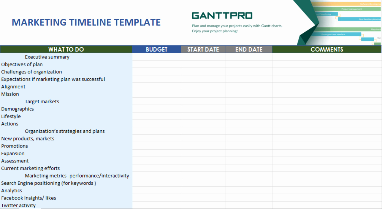 Marketing Timeline Template Excel Fresh Marketing Timeline Templates Free Download