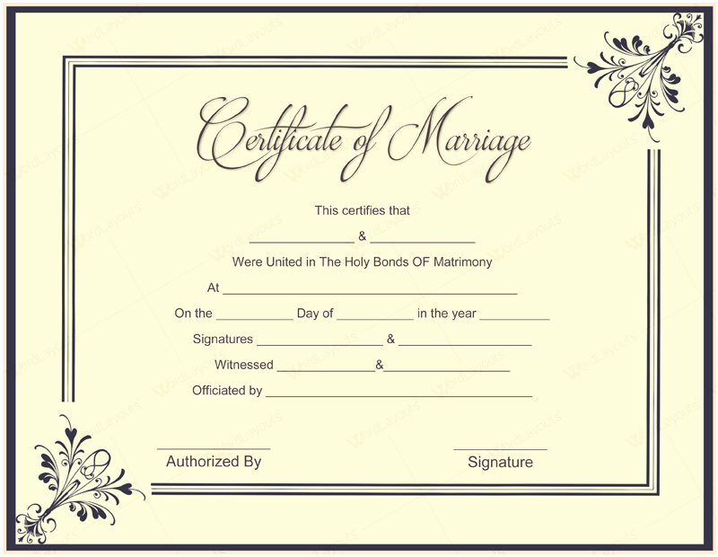 Marriage Certificate Template Word Awesome 10 Beautiful Marriage Certificate Templates to Try This Season