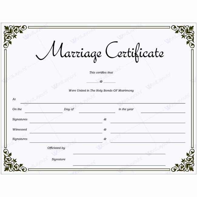 Marriage Certificate Template Word Awesome 68 Best Marriage Certificate Templates Images On Pinterest