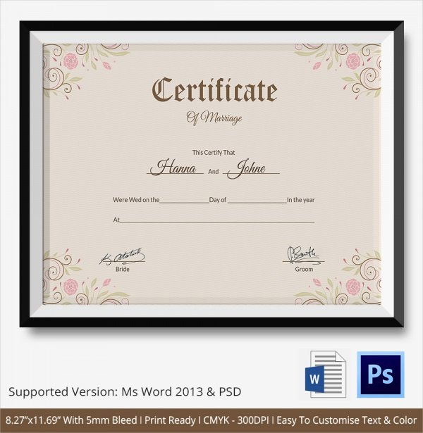 Marriage Certificate Template Word Beautiful 19 Marriage Certificate Templates