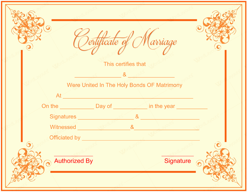 Marriage Certificate Template Word Best Of 10 Beautiful Marriage Certificate Templates to Try This Season