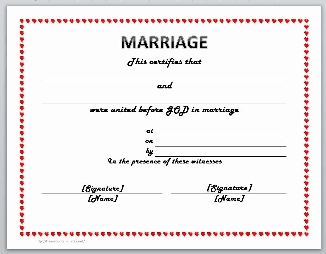 Marriage Certificate Template Word Elegant 13 Free Certificate Templates for Word