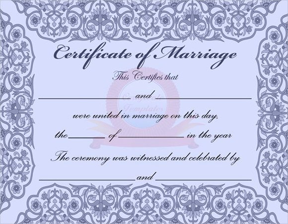 Marriage Certificate Template Word Lovely 18 Sample Marriage Certificate Templates to Download