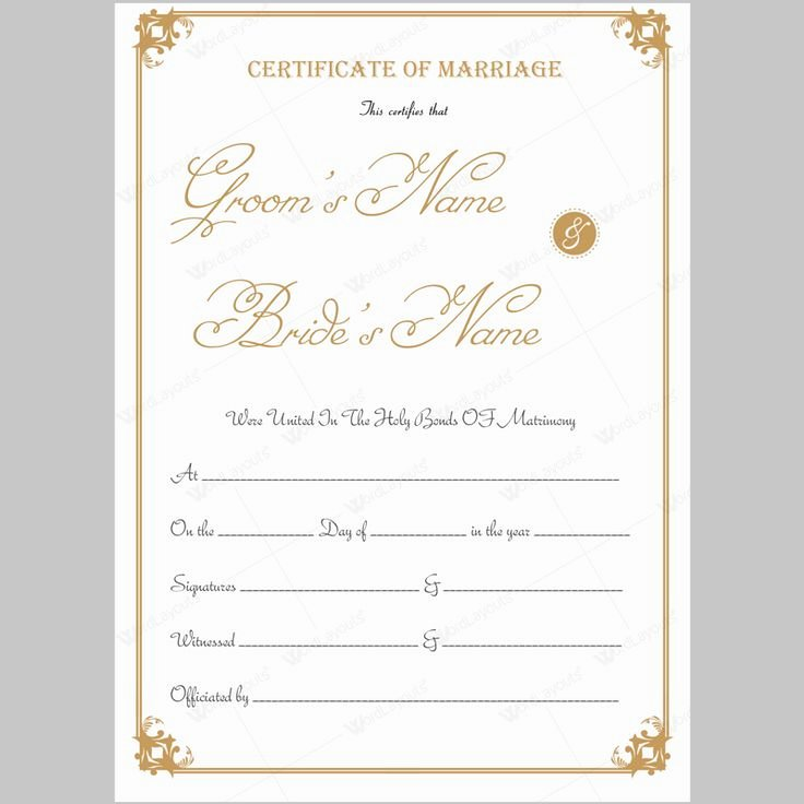 Marriage Certificate Template Word Lovely 68 Best Marriage Certificate Templates Images On Pinterest