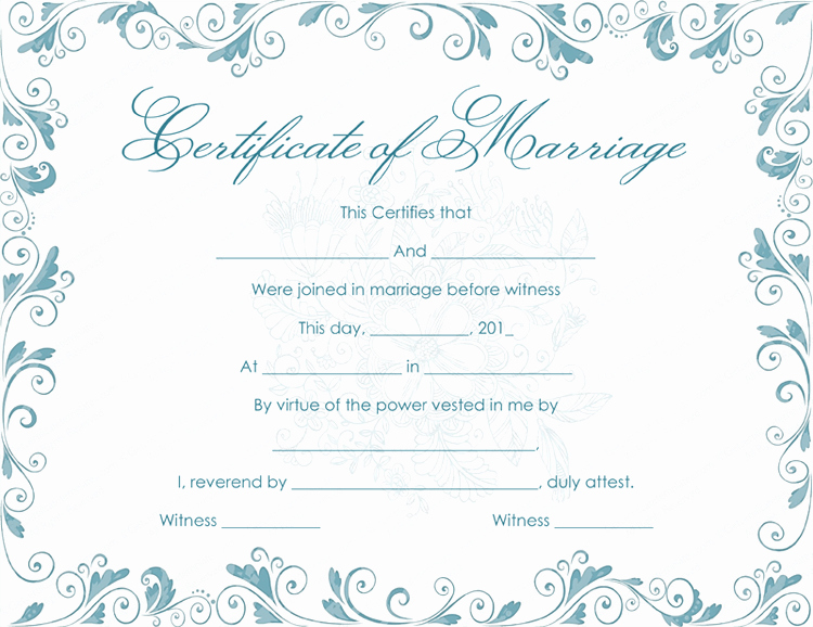 Marriage Certificate Template Word Lovely Classic Bluish Marriage Certificate Template