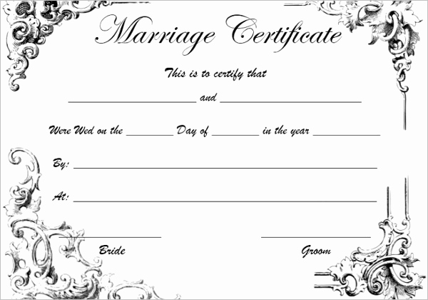 Marriage Certificate Template Word Luxury 42 Free Marriage Certificate Templates Word Pdf Doc