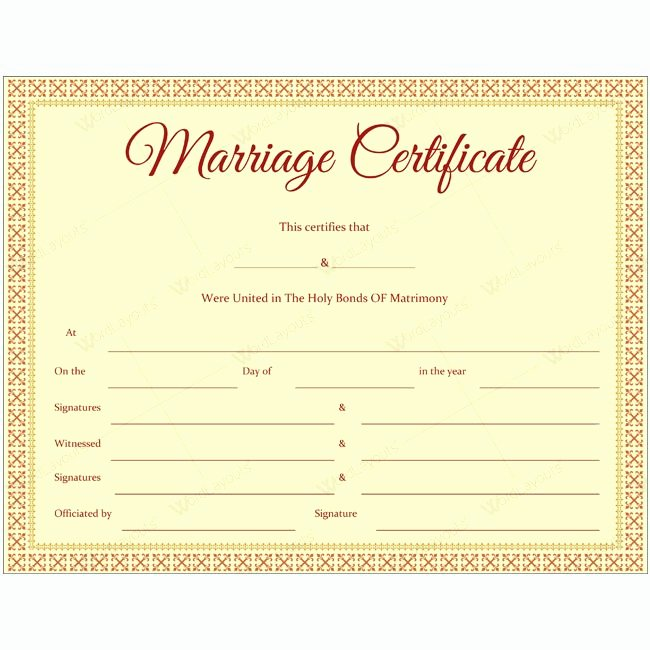 Marriage Certificate Template Word Luxury 68 Best Marriage Certificate Templates Images On Pinterest