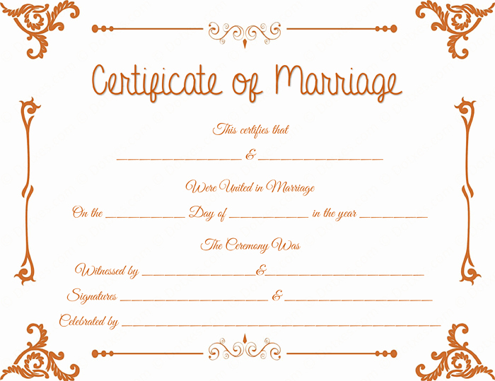 floral corner marriage certificate template